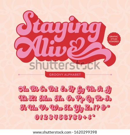 abstract groovy retro alphabet design template Royalty-Free Stock Photo #1620299398
