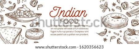Indian food, cuisine banner. Chana masala savoury chickpeas, crispy samosa with filling, cham cham sweet dessert, vada fried snack, chicken tandoori. Hand drawn illustrations graphic vector and text. #1620356623