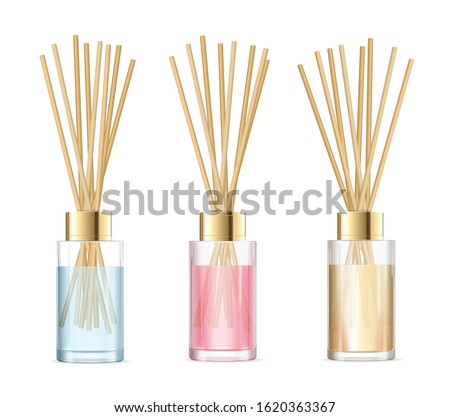 Realistic Detailed 3d Aromatherapy Set Concept. Vector illustration of Glass Jar Different Color with Wooden Aroma Sticks Royalty-Free Stock Photo #1620363367