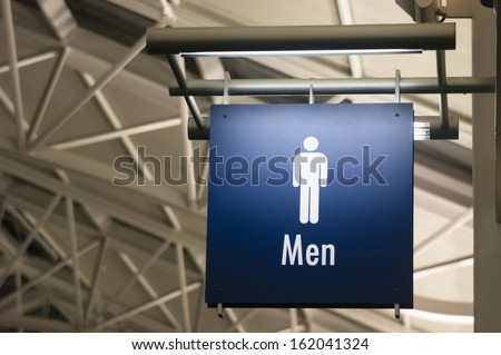 The Sign for Mens Lavatory Male Bathroom in a Public Building Business Place