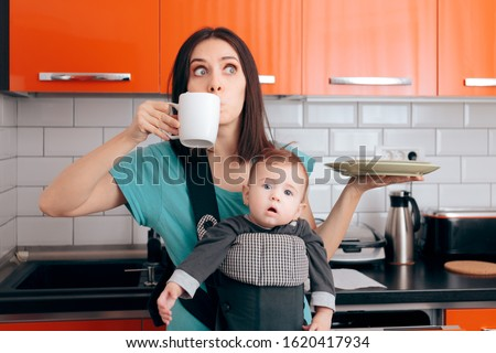 Busy Multitasking Mom with Baby, Coffee Mug and Dishes. Tired mother needing caffeine to do the household chores  #1620417934