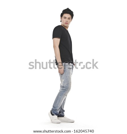 Full body attractive casual man wearing black T-shirt, jeans #162045740