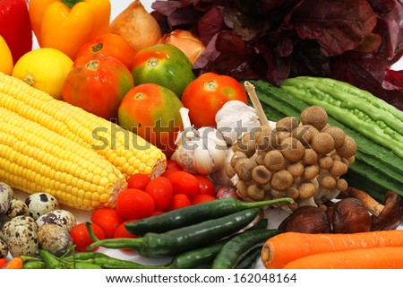 vegetables and fruits, isolated on white #162048164