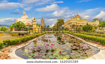 Landscape with Vinh Tranh Pagoda in My Tho, Mekong Delta, Vietnam Royalty-Free Stock Photo #1620501589
