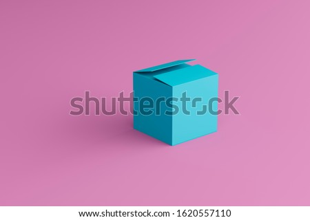 closed blue box on a pink background, place for text, place for logo, wallpaper #1620557110