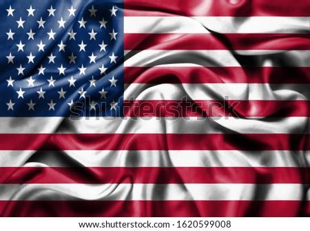Silk Flag of USA . USA Flag of Silk Fabric #1620599008