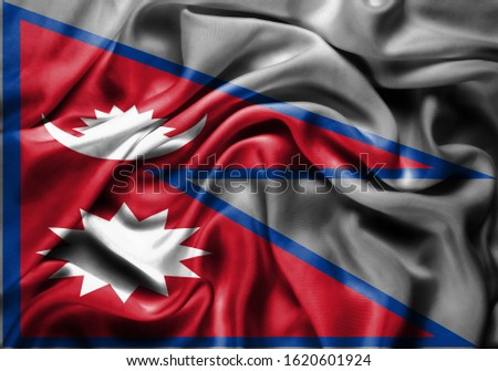 Silk Flag of Nepal . Nepal Flag of Silk Fabric #1620601924