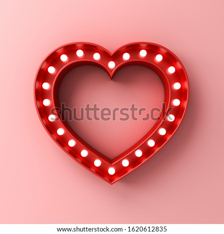 Neon light heart sign banner with blank space on pink pastel color wall background with shadow Design element for Happy Valentine's Day Concept 3D rendering