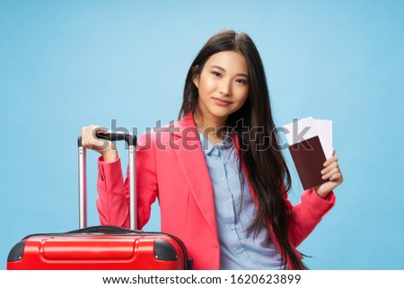 Pretty woman of Asian appearance luggage airport flight vacation vacation fun #1620623899
