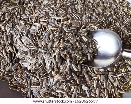 Dry sunflower seeds on background, Sunflower seeds, Sunflower seeds aspopular useful culinary product. #1620626539