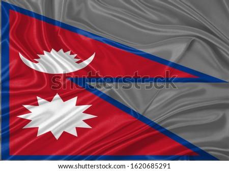 Silk Flag of Nepal . Nepal Flag of Silk Fabric #1620685291