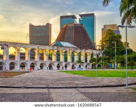 Arcos da Lapa (Lapa Arch) and Metropolitan Cathedral in Rio de Janeiro, Brazil. Cityscape of Rio de Janeiro. Architecture and landmarks of Rio de Janeiro Royalty-Free Stock Photo #1620688567