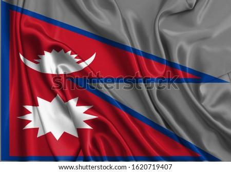 Silk Flag of Nepal . Nepal Flag of Silk Fabric #1620719407