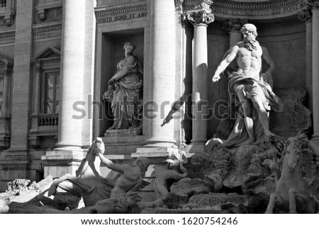 Monochromatic morning view of the Trevi Fountain (completed 1762) in Rome, Italy #1620754246