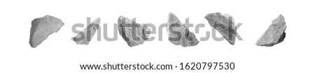 Broken Concrete Slabs Construction Stones Isolated on White Background. Fragment of Grey Rubbles, Clay or Debris Cement Wall #1620797530