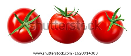 Tomato isolate. Tomato on white background. Tomatoes top view, side view. With clipping path. #1620914383