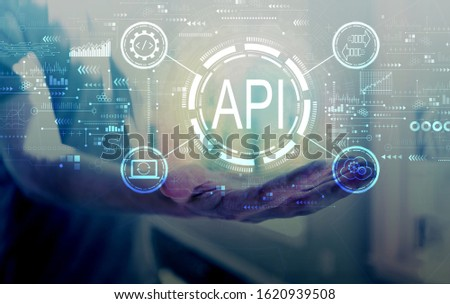 API - application programming interface concept API concept with young man holding his hand