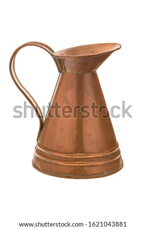 Antique English Copper Ewer Jug. Vintage Kitchenware Pitcher. Old Traditional Rustic Copper Kitchen Table Ewer with Patina at Joints. Isolated on White Background. Clipping Work Path included in JPEG