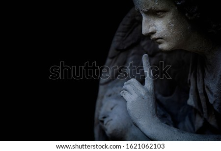 Religion and death concept. Ancient statue of an angel as symbol of end of life. Horizontal image. #1621062103