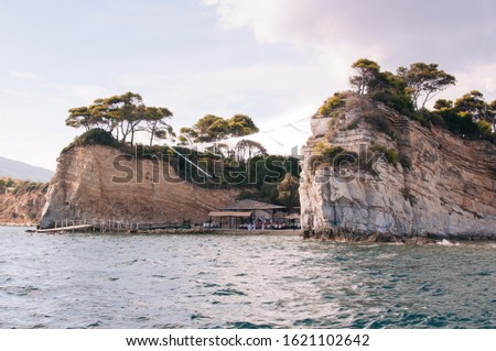 Famous Cameo Island. Perfect place for wedding ceremony. Beautiful coastline.Greece, Zakynthos. Bright blue sea water of the Ionian Sea. Ecological tourism  #1621102642