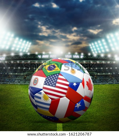 World cup soccer ball with world flag #1621206787
