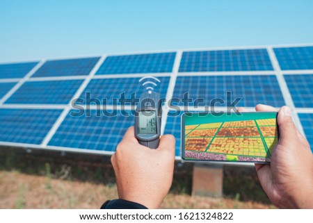 Thermoscan(thermal image camera), Scan to the solar panel for temp check and show video real-time send to the telephone by wifi or 5G systems or 6G systems in the future. #1621324822