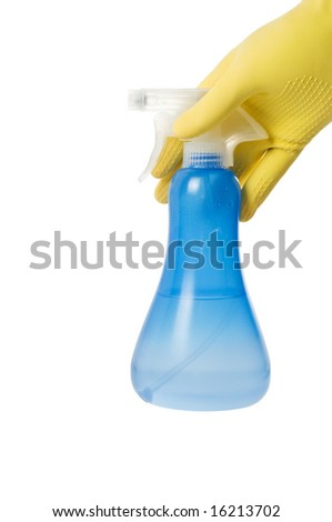 Hand with spray bottle isolated on a white #16213702