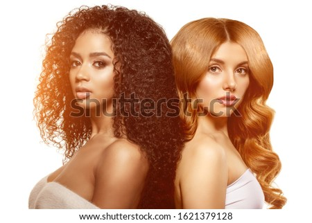 Multi-ethnic beauty. Caucasian and African. Different ethnicity women on white background. Beautiful vogue girls. #1621379128