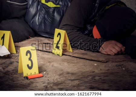 An expert is gathering evidence at a crime scene. The law and the concept of police forensics