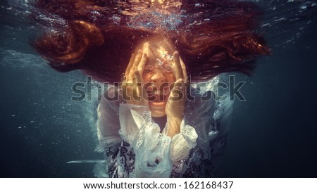A girl under the water emotions. #162168437