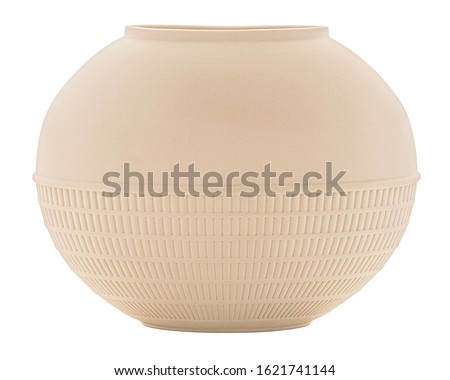 Antique Wedgwood Vase. Elegant Minimalist Unglazed Biscuit Flattened Oval Shaped Cream Ivory Ceramic Mantle Vase Pot by Wedgwood. Isolated on White Background Clipping Work Path Included in JPEG