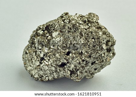 pyrite, piece of natural mineral stone on white background, close up, macro high resolution photo, magic minerals, ritual stones #1621810951
