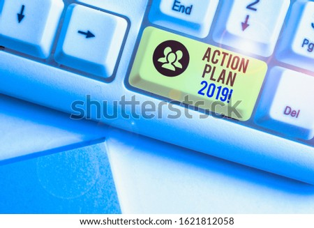 Handwriting text Action Plan 2019. Concept meaning proposed strategy or course of actions for current year. #1621812058