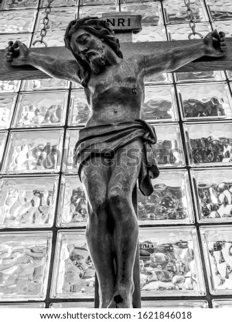 close up black and white image of crucifixion of jesus christ.