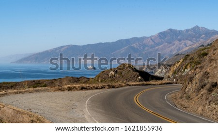 Road curving along Pacific Coast   - Pacific Coast Highway, California #1621855936