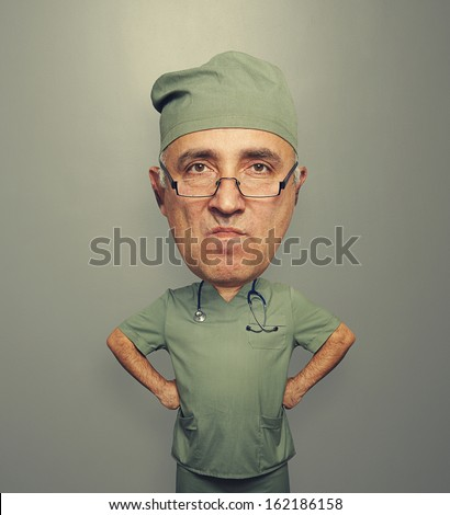 funny picture of bighead angry doctor in glasses over dark background