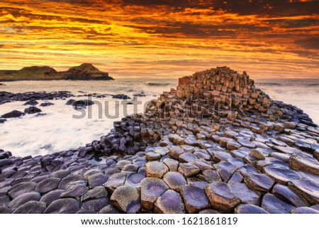 Sunset view on the Giants Causeway in Northern Ireland. Royalty-Free Stock Photo #1621861819