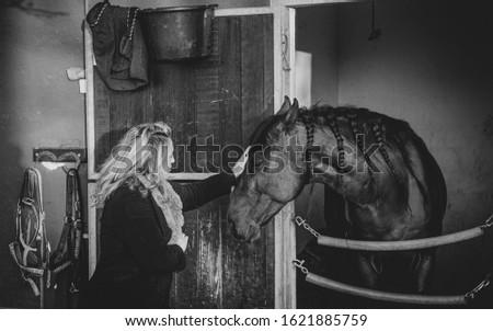 Souls touching, woman touching the horse. #1621885759