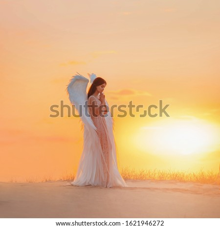 Silhouette young woman angel stands in desert praying. Creative glamour design costume clothes with bird wings feathers. Bright yellow color sunset dramatic heaven. Photo Shoot Divine Fairy Spirit #1621946272