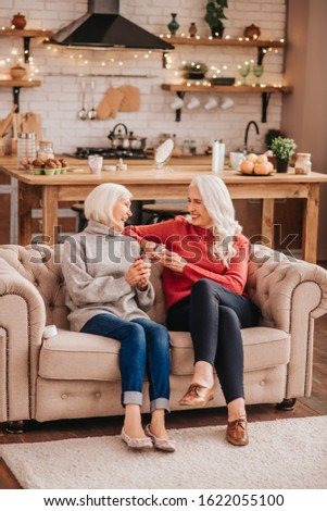 Two beauties. Two grey-haired pleasant cute ladies feeling excited #1622055100