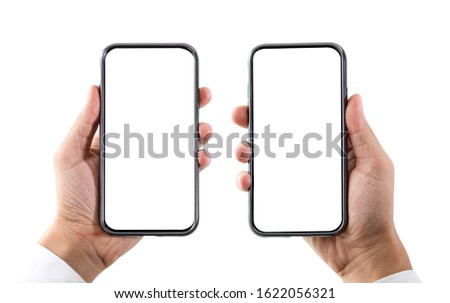 Blank form of smartphone frame and two men hand with white background for add template infographic or presentation and advertisement. Technology and object with clipping path.