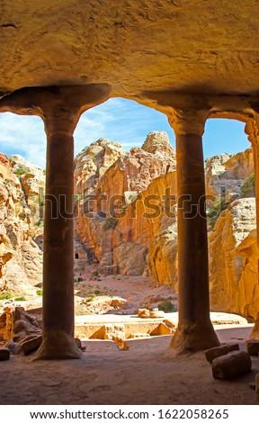 Ancient city of Petra in Jordan. Columns in Petra city, Jordan #1622058265