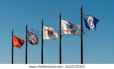 Flags of United States Military Branches Royalty-Free Stock Photo #1622135365