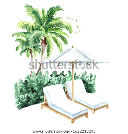 Sun loungers and palm trees, summer vacation concept. Hand drawn watercolor illustration isolated on white background