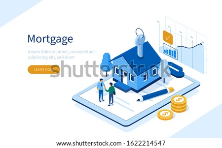 Character Buying Mortgage House and Shaking Hands with Real Estate Agent. People Invest Money in Real Estate Property. House Loan, Rent and Mortgage Concept. Flat Isometric Vector Illustration.