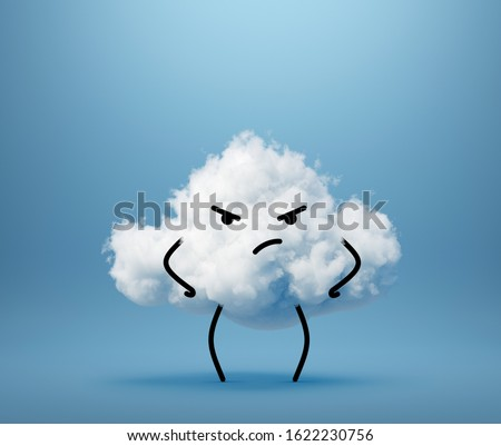 3d render, white cloud mascot isolated on blue background, skeptical cartoon character. Grumpy little guy looking at camera. Weather icon. Cute kawaii illustration. Facial expression. Emotional face.