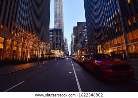 Night street view and city life on  Sixth Avenue or Avenue of the Americas, Midtown Manhattan, New York. #1622346802
