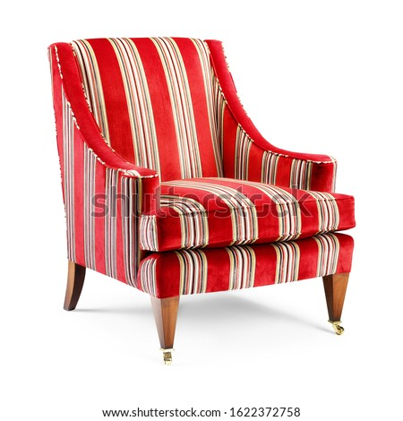 Red Chair Isolated on White Background. Modern Wingback Accent Club Armchair with Upholstered Armrests and Wooden Feet Front Side View. Classic Interior Furniture. Wing Sofa Set #1622372758