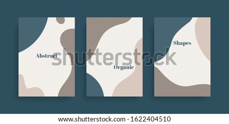Vector set of minimal  backgrounds with abstract organic shapes and sample text. Contemporary collage. Design for posters, flyers, greeting cards, packaging, branding and wedding invitations Royalty-Free Stock Photo #1622404510