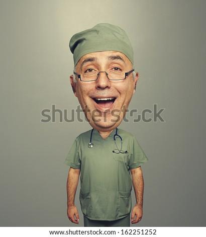 laughing bighead doctor in uniform over dark background